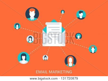 Flat style design vector illustration email marketing concept