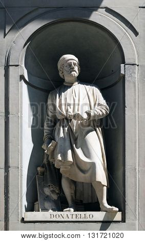 FLORENCE, ITALY - JUNE 05: Donatello in the Niches of the Uffizi Colonnade. The first half of the 19th Century they were occupied by 28 statues of famous people in Florence, Italy, on June 05, 2015