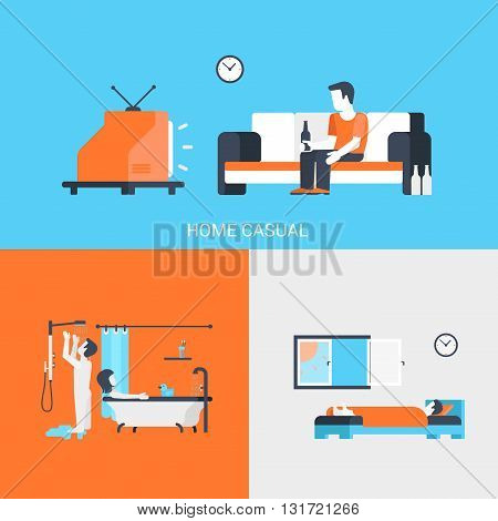 Lifestyle concept flat icons set people leisure home casual