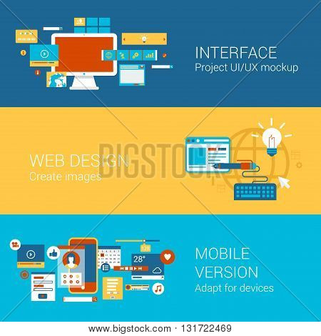 Web site interface design infographics concept flat banners set