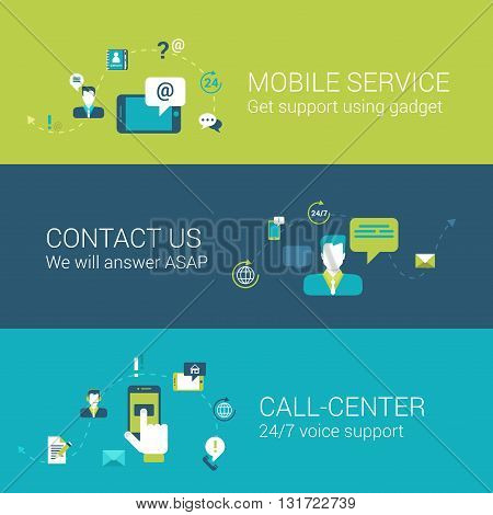 Mobile support service contact call center concept flat icons