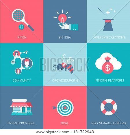 Flat start up business design icons set pitch big idea funding