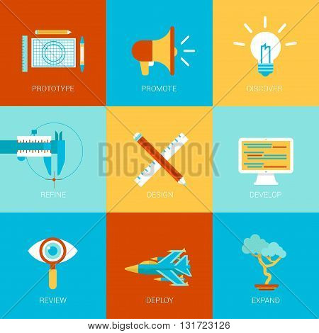 Flat website creation process design icons set prototype idea