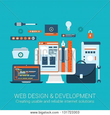 Modern flat design concept for webdesign development interface elements creative process tools utility and vector web banners illustration print materials website click infographics elements collection.