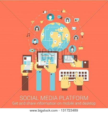 Modern flat design concept for social media platform worldwide people connection tablet smart phone pc vector web banners illustration print materials website click infographics elements collection.