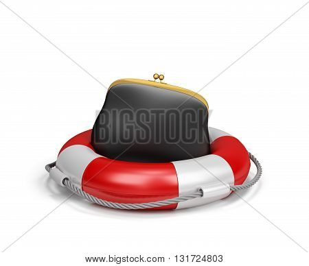 Purse on lifebuoy the concept of insurance. 3d image. White background.