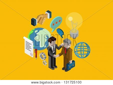 Flat 3d isometric design concept vector web infographic contract