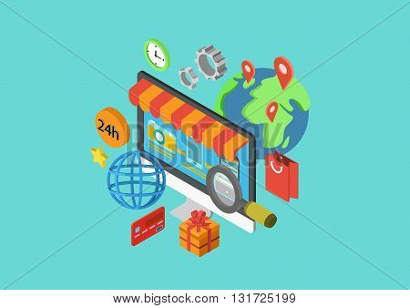 Online shopping flat 3d isometric concept vector infographics