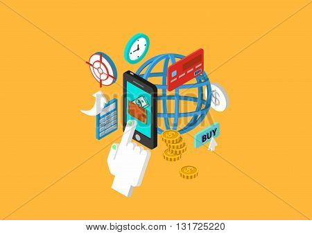 Flat 3d isometric concept vector web infographics mobile payment