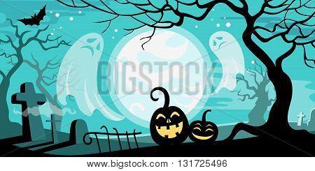 Halloween vector illustration concept template scary graveyard