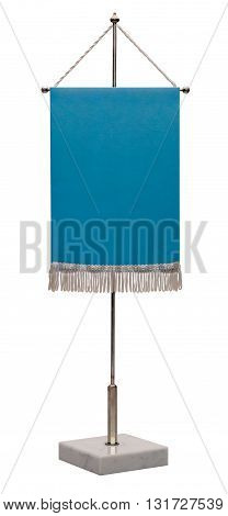 Empty blue pennant. Pennant on steel spire on a marble pedestal isolated on white background