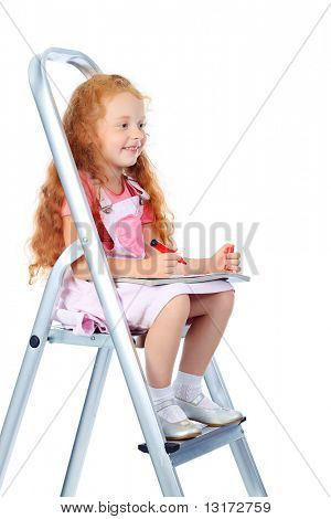 Portrait of a little girl sitting on steps and reading a book. Isolated over white background.