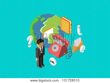 Client service support flat 3d isometric concept vector