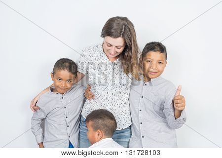 Mother and sons, adoption, happy family in thailand