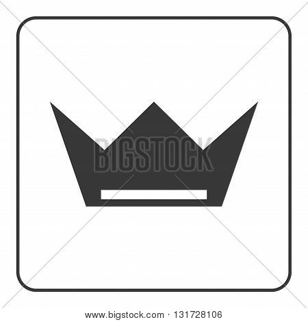 Crown icon. Black shape sign isolated on white background. Symbol of king luxury queen leader success throne authority nobility. Design decoration. Flat modern graphic style. Vector illustration