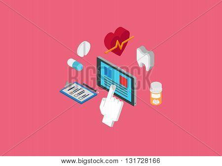 Medical diagnostics flat 3d isometric concept web infographic