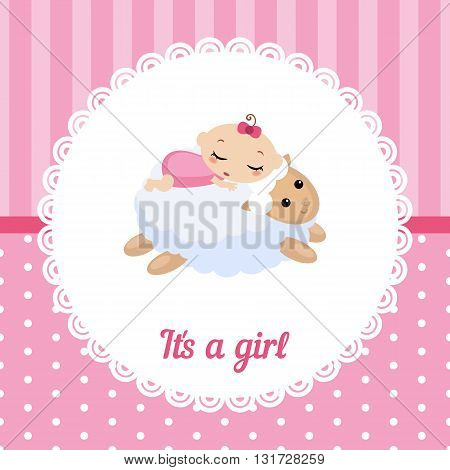 Cute baby girl card. Vector illustration of a baby sleeping on the lamb.