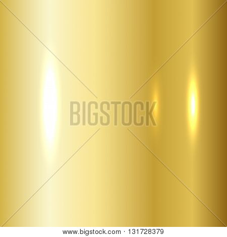 Gold texture. Golden gradient smooth material background. Textured bright metal with light shiny. Metallic blank backdrop decorative pattern. Abstract art for banner invitation. Vector Illustration