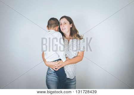 Mother and son, adoption, happy family, happy time