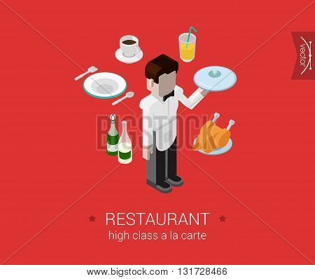 Restaurant waiter food drink flat 3d isometric concept vector