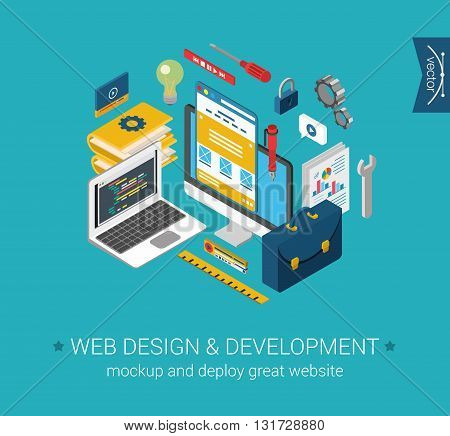 Web design development programming coding mockup flat 3d concept