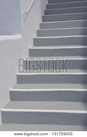 Grey steps at Imerovigli on Santorini island Greece