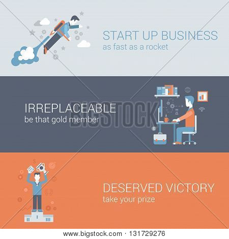 Quick start up business work hard win flat web banners template
