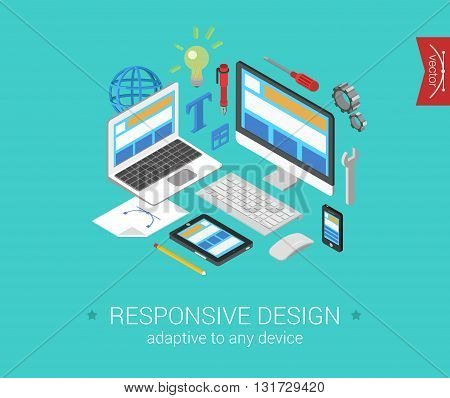 Responsive website webdesign flat 3d isometric vector