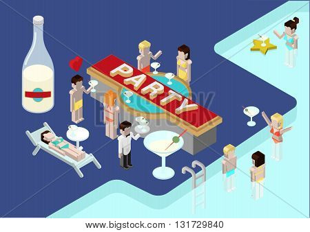 Flat 3d isometric party poll young men female woman girl