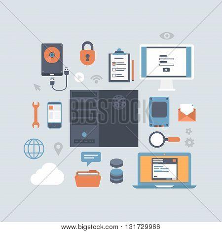 Server computing hosting modern flat style equipment icon set
