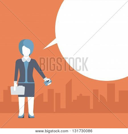 Flat comic message template vector businesswoman and credit card