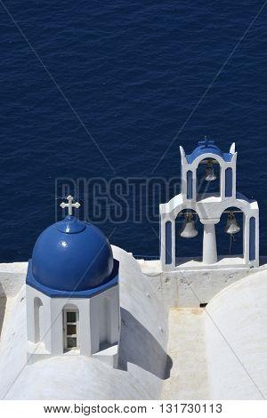 Traditional Blue And White Chapel At Imerovigli, Santorini Greece