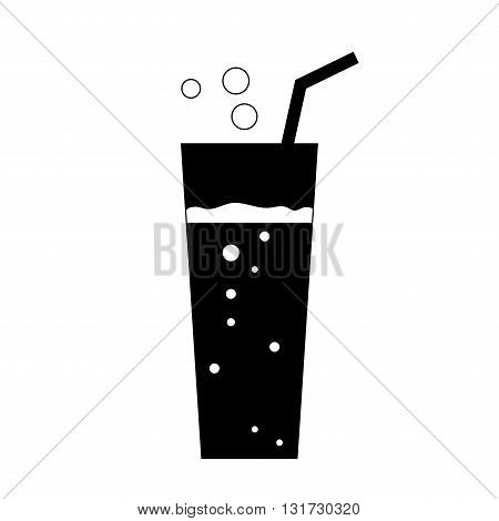 Glass soda icon. Fizzy liquid with bubbles and piece of straw. Black sign isolated on white background. Effervescent drink. Symbol fast food cocktail lemonade mineral water. Vector illustration.