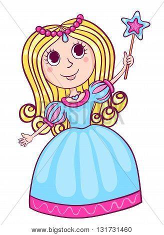 Cute little princess. Cartoon children illustration. Isolated on white.
