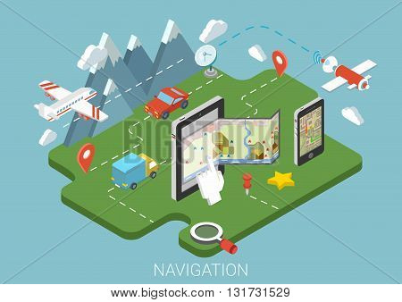 Flat map mobile GPS navigation infographic 3d isometric concept