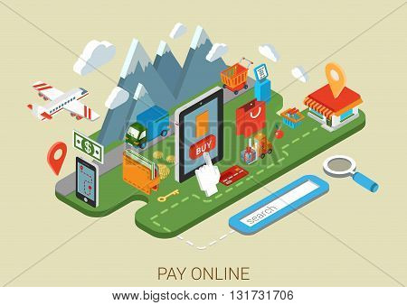 Flat online shopping internet process 3d isometric concept