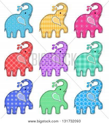 Set of nine happy color elephants. Vector cartoon illustration. Isolated on white.