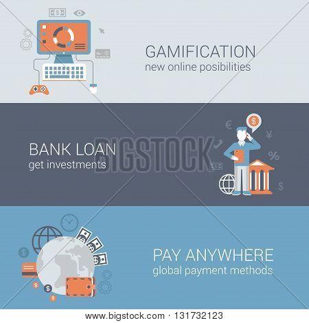 Flat online internet business technology web banners templates