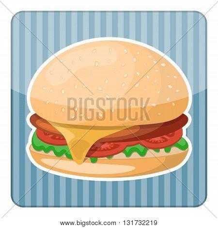 Hamburger colorful icon. Vector illustration in cartoon style