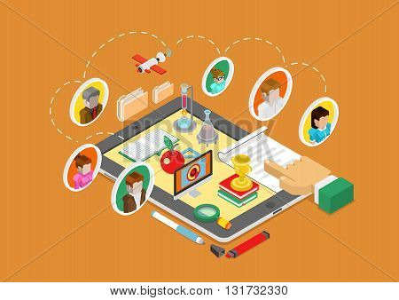 Online education tablet flat 3d isometric vector infographic