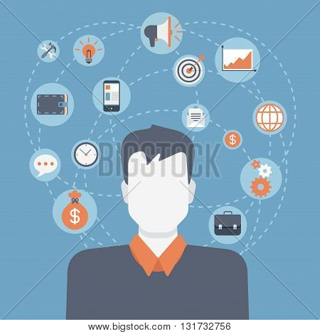 Businessman flat style modern web infographic icon collage