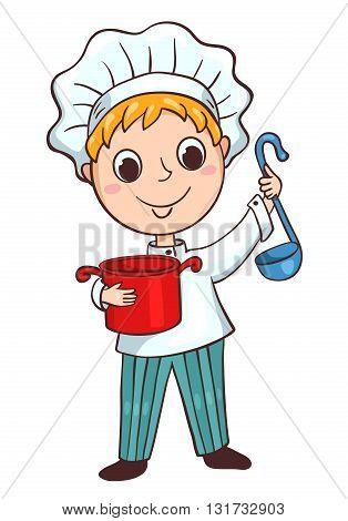 Cute little cook boy. Children vector cartoon illustration. Isolated on white.
