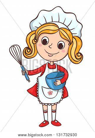 Cute little cook girl. Children vector cartoon illustration. Isolated on white.
