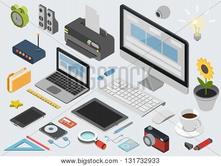 Flat 3d isometric computerized technology designer workspace infographic concept vector. Tablet, laptop, smart phone, camera, player, printer, desktop computer, printer, peripheral devices icon set. poster