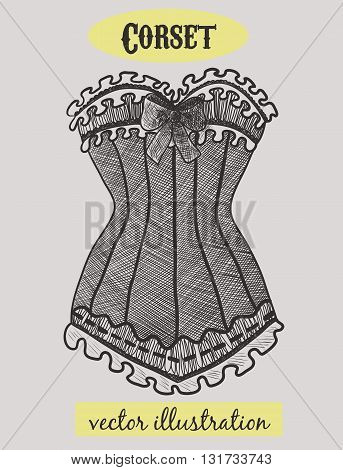 Vintage corset. Black and white fashion illustration