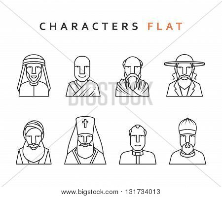 Set of religious figures of different religions in the world . Isolated characters in flat style. Characters icons men religious.