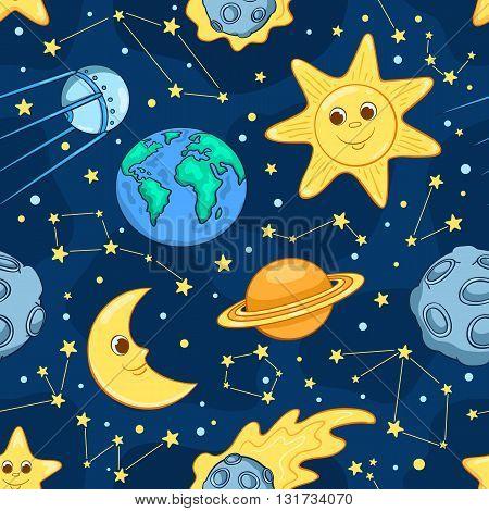 Cartoon space seamless pattern. Children vector background.