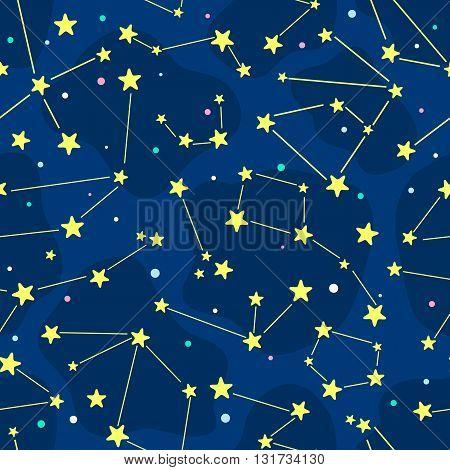 Seamless cartoon pattern with constellation. Vector children background.