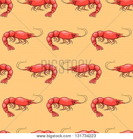 Seamless pattern with red shrimps. Vector cartoon background.