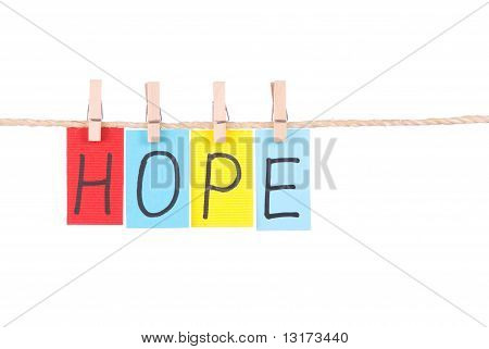 Hope, Colorful Words Hang On Rope